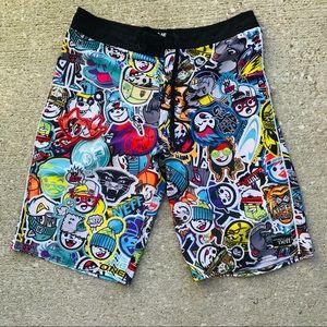 NEFF ONEILL graffiti board shorts swim trunks 30